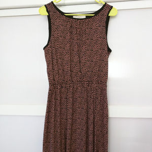 LOFT Ann Taylor Pink Black Elastic Waist Dress